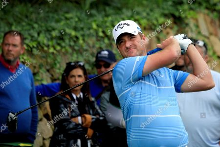 Scottish golfer Marc Warren in action on the 16th hole during the second round of the Andalucia Valderrama Master golf tournament at Valderrama golf course in Cadiz, Andalusia, Spain, 19 October 2018.