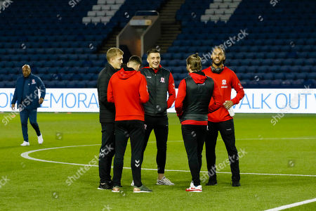 Middlesbrough's George Saville, Middlesbrough Jordan Hugill, Adam Clayton,  and Ryan Shotton  inspecting the pitch during the EFL Sky Bet Championship match between Sheffield Wednesday and Middlesbrough at Hillsborough, Sheffield
