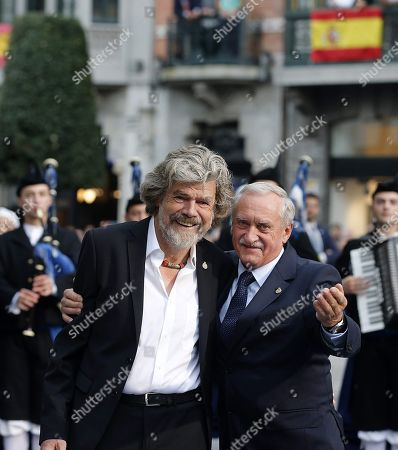 Italian alpinist Reinhold Messner (L) and Polish alpinist Krzysztof Wielicki (R) pose after being awarded with the Princess of Asturias Award of Sports 2018 during the 38th edition of the Princess of Asturias Awards ceremony at the Campoamor Teather in Oviedo, Asturias, northern Spain, 19 October 2018. The Princess of Asturias Awards are given every year to personalities or organizations from all around the world who make significant achievements in the sciences, arts, literature, humanities and sports.