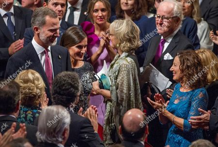 Paloma Rocasolano (R), mother of Spanish Queen Letizia (C), greets as Letizia passes next to Spanish King Felipe VI (L) after the 38th edition of the Princess of Asturias Awards ceremony at the Campoamor Teather in Oviedo, Asturias, northern Spain, 19 October 2018. The Princess of Asturias Awards are given every year to personalities or organizations from all around the world who make significant achievements in the sciences, arts, literature, humanities and sports.