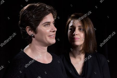 """Laura Ricciardi, Moira Demos. Filmmakers Moira Demos, left, and Laura Ricciardi talk during an interview, in New York. The second season of their Netflix series """"Making a Murderer"""" premieres on Friday"""