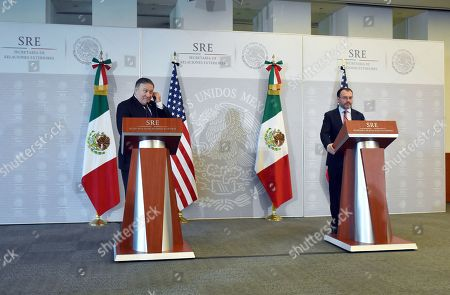 Mike Pompeo, U.S Secretary of State (L) and Luis Videgaray Caso, Mexico's Minister of Foreign Affairs seen during a press conference offered as part of U.S Secretary of State working visit to Mexico