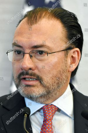 Luis Videgaray Caso, Mexico's Minister of Foreign Affairs seen during a press conference