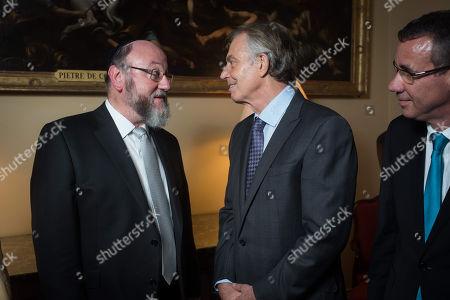 Tony Blair with Chief Rabbi Ephraim Mirvis and Ambassador Mark Regev.