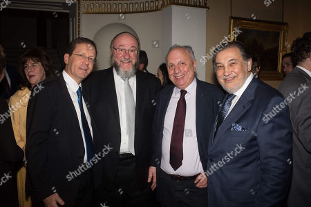 Chair of the Jewish Agency Yitzhak Herzog with Chief Rabbi Ephraim Mirvis and guests.