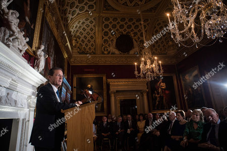 Stock Photo of Yitzhak Herzog addresses guests including Lord Jacob Rothschild, Hannah Rothschild, Lady Susan Chinn CBE, Sir Trevor Chinn, Chief Rabbi Ephraim Mirvis, Isaac Kaye, Louise Jacobs.