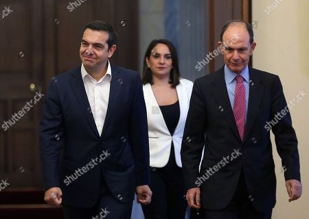 Greek Prime Minister Alexis Tsipras (L) arrives at the presidential palace for his swearing ceremony as new Foreign Minister by the country's President Prokopis Pavlopoulos (not pictured), at the presidential palace in Athens, Greece, 20 October 2018. Tsipras took up the position after the resignation of former Foreign Minister Nikos Kotzias.