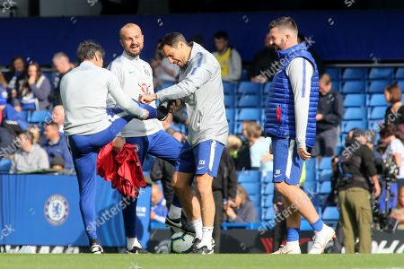 Chelsea coach, Marco Ianni, in good spirits ahead of kick-off as he looks on while Carlo Cudicini lifts the leg of Gianfranco Zola during Chelsea vs Manchester United, Premier League Football at Stamford Bridge on 20th October 2018