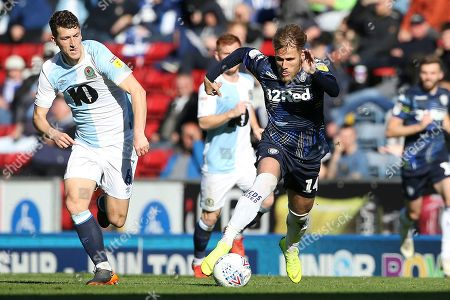 scores a goal 1-4 gets away from Blackburn Rovers midfielder Richard Smallwood (6) during the EFL Sky Bet Championship match between Blackburn Rovers and Leeds United at Ewood Park, Blackburn
