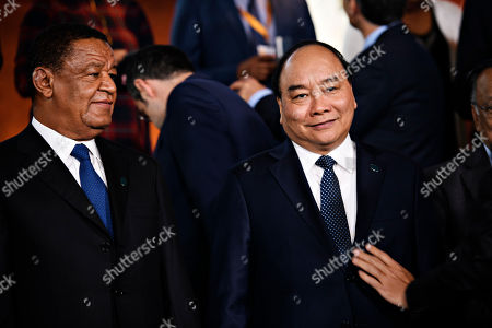 President of Ethiopia Mulatu Teshome (L) and Vietnam's Prime Minister Nguyen Xuan Phuc (R) during day two of the P4G summit at the DR Koncerthuset in Copenhagen, 20 October 2018. P4G stands for Partnership for Green Growth and the Global Goals 2030 and is a global initiative which Denmark, along with South Korea, Ethiopia, Vietnam, Chile, Mexico and Kenya are involved in.