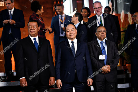 President of Ethiopia Mulatu Teshome (L), Vietnam's Prime Minister Nguyen Xuan Phuc (C) and and Foreign Minister of Bangladesh Abul Hassan Mahmud Ali (R) during day two of the P4G summit at the DR Koncerthuset in Copenhagen, 20 October 2018. P4G stands for Partnership for Green Growth and the Global Goals 2030 and is a global initiative which Denmark, along with South Korea, Ethiopia, Vietnam, Chile, Mexico and Kenya are involved in.