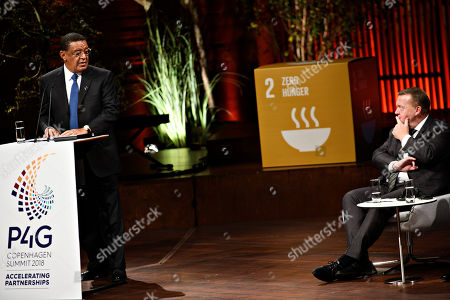 President of Ethiopia Mulatu Teshome (L) speaks during day two of the P4G summit at the DR Koncerthuset in Copenhagen, 19 October 2018. P4G stands for Partnership for Green Growth and the Global Goals 2030 and is a global initiative which Denmark, along with South Korea, Ethiopia, Vietnam, Chile, Mexico and Kenya are involved in.