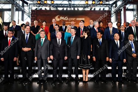 Front row from left to right: Foreign Minister for Japan Taro Kono, Prime Minister of the Netherlands Mark Rutte, President of South Korea Moon Jae-in, Prime Minister of Denmark Lars Loekke Rasmussen, Crown Prince Frederik of Denmark, Crown Princess Mary of Denmark, President of Ethiopia Mulatu Teshome, Prime Minister of Vietnam Nguyen Xuan Phuc and Foreign Minister of Bangladesh Abul Hassan Mahmood Ali pose for a family portrait during day two of the P4G summit at the DR Koncerthuset in Copenhagen, 19 October 2018. P4G stands for Partnership for Green Growth and the Global Goals 2030 and is a global initiative which Denmark, along with South Korea, Ethiopia, Vietnam, Chile, Mexico and Kenya are involved in.