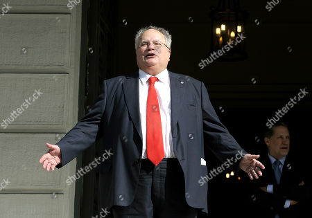 Greek outgoing Foreign Minister Nikos Kotzias waits for Prime Minister and newly appointed Foreign Minister Alexis Tsipras for a handover ceremony at the Foreign Ministry in Athens, Greece, 20 October 2018. Tsipras took up the position after the resignation of Kotzias following a disagreement with Defense Minister Panos Kammenos over the handling of a deal of Greece with FYROM.