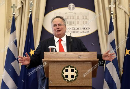 Greek outgoing Foreign Minister Nikos Kotzias delivers a speech during a handover ceremony at the Foreign Ministry in Athens, Greece, 20 October 2018.  Tsipras took up the position after the resignation of Kotzias following a disagreement with Defense Minister Panos Kammenos over the handling of a deal of Greece with FYROM.