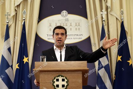 Greek Prime Minister and Foreign Minister Alexis Tsipras delivers a speech during a handover ceremony at the Foreign Ministry in Athens, Greece, 20 October 2018. Tsipras took up the position after the resignation of former Foreign Minister Nikos Kotzias following a disagreement with Defense Minister Panos Kammenos over the handling of a deal of Greece with FYROM.