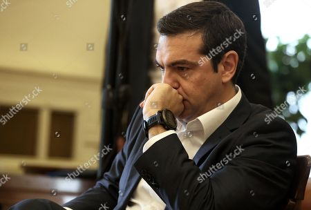 Stock Picture of Greek Prime Minister and new Foreign Minister Alexis Tsipras attends a handover ceremony at the Foreign Ministry in Athens, Greece, 20 October 2018. Tsipras took up the position after the resignation of former Foreign Minister Nikos Kotzias following a disagreement with Defense Minister Panos Kammenos over the handling of a deal of Greece with FYROM.