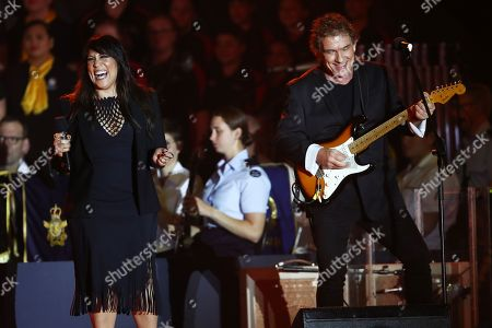 Australian singer-songwriters Kate Ceberano (L) and Ian Moss (R) perform on stage during the Invictus Games opening ceremony in Sydney, Australia, 20 October 2018. The Sydney Invictus Games, at which wounded or sick armed services personnel and veterans will compete, will run from 20 to 27 October 2018.