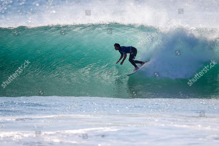 Australia's Julian Wilson inn action during the MEO Rip Curl Pro Portugal 2018 surfing event as part of the World Surf League (WSL) at Praia dos Super Tubos in Peniche, Portugal, 20 October 2018.