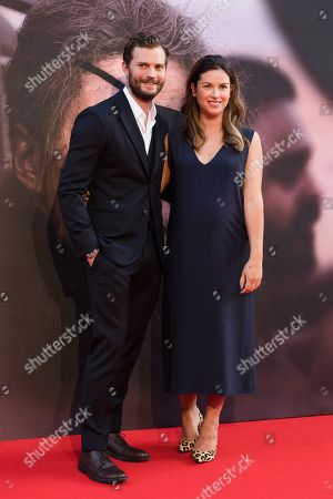 Jamie Dornan (L) and his wife, British actress Amelia Warner arrive for the gala presentation of the movie 'A Private War' at the BFI London Film Festival 2018, in London, Britain, 20 October 2018. The festival runs from the 10 to 21 October.