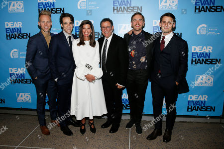 Stock Image of Justin Paul, Steven Levenson, Stacey Mindich, Michael Greif, Danny Mefford and Benj Pasek