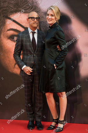 Stanley Tucci, Felicity Blunt. Stanley Tucci and Felicity Blunt pose for photographers upon arrival at the premiere of the film 'A Private War' showing as part of the BFI London Film Festival in London