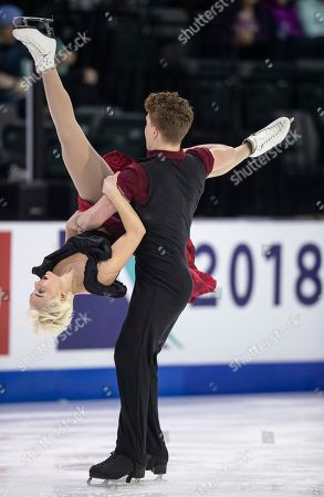 Karina Manta and Joe Johnson of the United States compete in the rhythm dance during the 2018 Grand Prix Skate America at the Angel of the Winds Arena in Everett, Washington, USA, 20 October 2018.