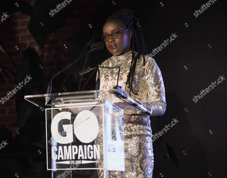 Phiona Mutesi speaks at the GO Campaign 2018 Gala.