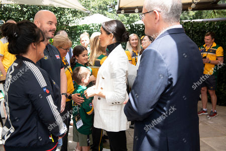 Meghan Duchess of Sussex, speaks as she attends a lunchtime reception hosted by Australian Prime Minister Scott Morrison with Invictus Games competitors, their families and friends in Sydney