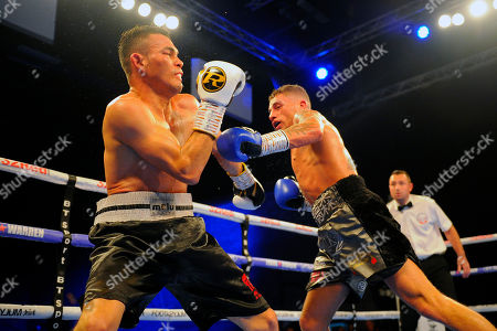 Lucien Reid (black/grey shorts) defeats Rafael Castillo during a Boxing Show at the Brentwood Centre on 20th October 2018