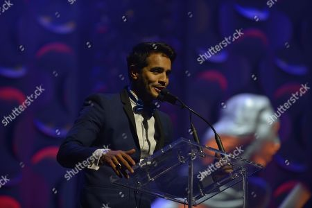 Stock Image of Ektor Rivera on stage the 6th Annual Latin Songwriters Hall Of Fame La Musa Awards at James L Knight Center