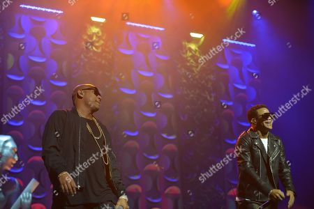 Alexander Delgado and Randy Malcom of Gente de Zona performs at the 6th Annual Latin Songwriters Hall Of Fame La Musa Awards at James L Knight Center