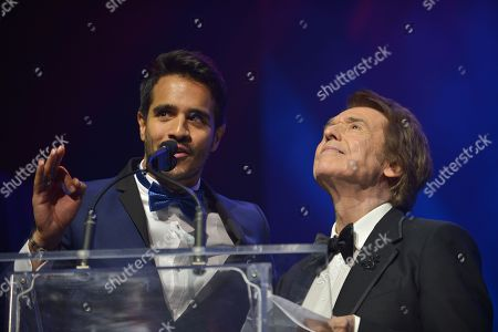 Stock Picture of Ektor Rivera and Raphael on stage at the 6th Annual Latin Songwriters Hall Of Fame La Musa Awards at James L Knight Center