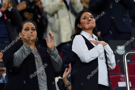 Montserrat Marti (R), daughter of Spanish late soprano Montserrat Caballe, receives the applause of the audience during a tribute to her memory prior the start of the Spanish Liga Primera Division soccer match against Sevilla CF played at Camp Nou stadium in Barcelona, Spain, 20 October 2018 (issued on 21 October).