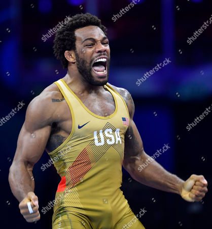 USA's Jordan Ernest Burroughs celebrates after defeating Frank Chamizo Marquez of Italy during their bronze medal bout in the men's freestyle 74 kg category of Wrestling World Championships, in Budapest, Hungary, 21 October 2018.