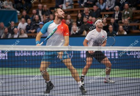 Britain's Luke Bambridge (L) and Jonny O'Mara in action during the ATP Stockholm Open tennis tournament doubles final match against  Marcus Daniell of New Zealand and Wesley Koolhof of The Netherlands at the ATP tennis tournament Stockholm Open in Stockholm, Sweden, 21 October 2018.
