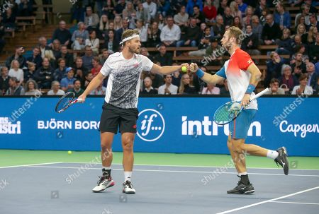 Great Britain's Jonny O'Mara and Luke Bambridge during the ATP Stockholm Open tennis tournament doubles final match against  Marcus Daniell (NZL) / Wesley Koolhof (NED) at the Royal Tennis Hall on October 21 2018, in Stockholm, Sweden.