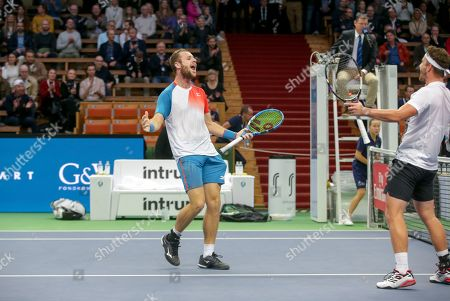 Great Britain's Luke Bambridge and Jonny O'Mara during the ATP Stockholm Open tennis tournament doubles final match against  Marcus Daniell (NZL) / Wesley Koolhof (NED) at the Royal Tennis Hall on October 21 2018, in Stockholm, Sweden.