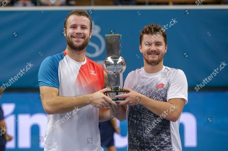 Great Britain's Luke Bambridge and Jonny O'Mara wins the ATP Stockholm Open tennis tournament doubles final match against  Marcus Daniell (NZL) / Wesley Koolhof (NED) at the Royal Tennis Hall on October 21 2018, in Stockholm, Sweden.