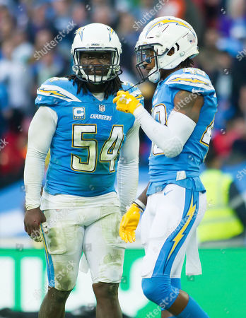 L A Chargers Defensive Linesman Melvin Ingram (54) and L A Chargers Defensive Back Michael Davis (43)
