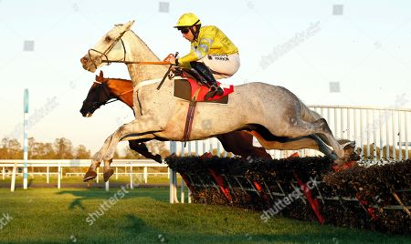 WALLACE SPIRIT (Jeremiah McGrath) leads over the last before throwing the race away on the flat and handing victory to HIDDEN GLEN (farside) Matchbook Best Value Exchange Novices Hurdle Kempton