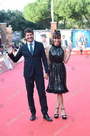 Stock Image of Micaela Ramazzotti and Fabio De Luigi
