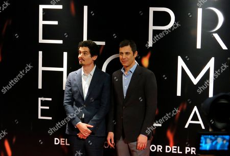 """Stock Picture of Director Damien Chazelle, left, and the writer Josh Singer, both from the U.S., attend the red carpet event for """"First Man"""" at the inauguration of the 16th edition of Morelia Film Festival in Morelia, Mexico"""
