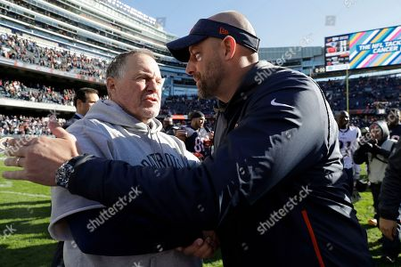 Stock Picture of New England Patriots head coach Bill Belichick, left, and Chicago Bears head coach Matt Nagy greet each other after an NFL football game, in Chicago. The Patriots won 38-31