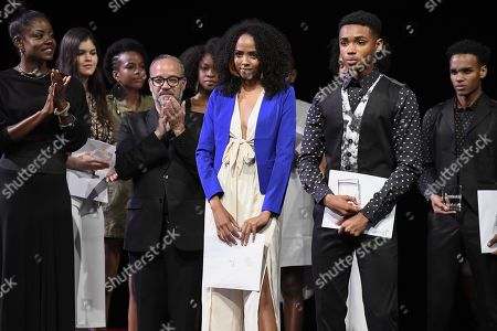 Sarah-Jane Jones, Top Model Winner and Arion Perouse, Male Top Model Winner with Wendy Fitzwilliam, left and John Bilboa, president of the jury