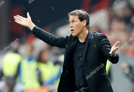 Olympique Marseille's French head coach Rudi Garcia gestures  during the French Ligue 1 soccer match between OGC Nice and Olympique Marseille, at the Allianz Riviera stadium, in Nice, France, 21 October 2018.