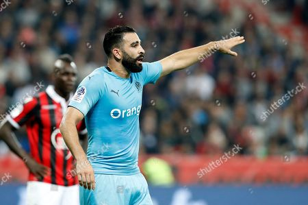 Adil Rami of Olympique Marseille reacts during the French Ligue 1 soccer match between OGC Nice and Olympique Marseille, at the Allianz Riviera stadium, in Nice, France, 21 October 2018.