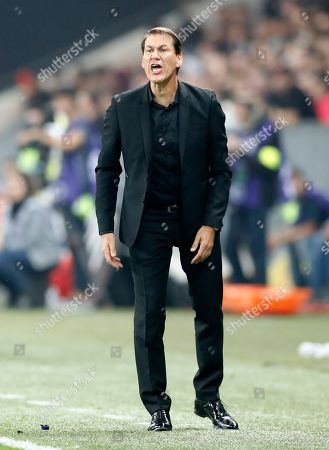 Olympique Marseille's French head coach Rudi Garcia reacts during the French Ligue 1 soccer match between OGC Nice and Olympique Marseille, at the Allianz Riviera stadium, in Nice, France, 21 October 2018.