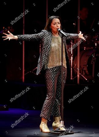 Luz Casal performs on stage during a concert in Pamplona, Spain, 21 October 2018, to present her new album 'Que corra el aire' (lit.: Let the air run).