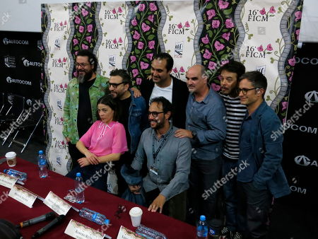 "Stock Picture of The cast and crew of the Mexican film ""Museo"" poses during a press conference at the Morelia Film Festival in Morelia, Mexico, . Back row, from left, are producer Alberto Muffelmann, director Alonso Ruizpalacios, writer Manuel Alcala, producer Ramiro Ruiz, and actors Leonardo Ortizgris and Gael Garcia Bernal. Front row, from left are actor Ilse Salas and producer Gerardo Gatica"